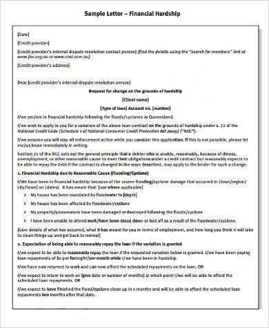 9 Sample Financial Hardship Letters Sample Templates