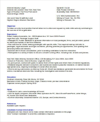 8 Sample Legal Assistant Resumes Sample Templates