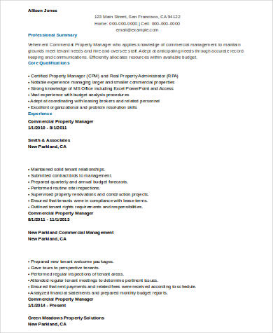 8 Sample Property Manager Resumes Sample Templates