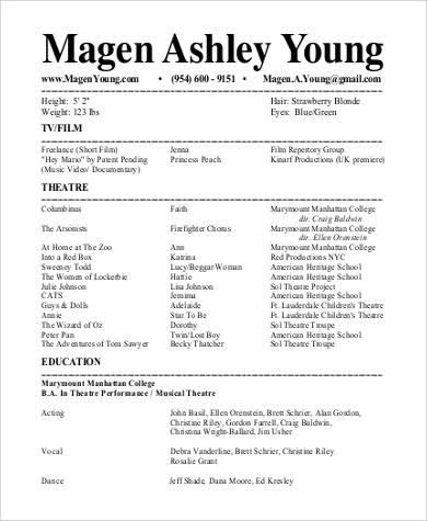 Sample Theatre Resume  9 Examples in Word PDF