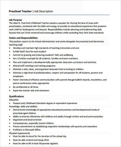 6 Sample Preschool Teacher Resumes Sample Templates