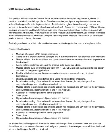 9 UX Designer Job Description Samples Sample Templates