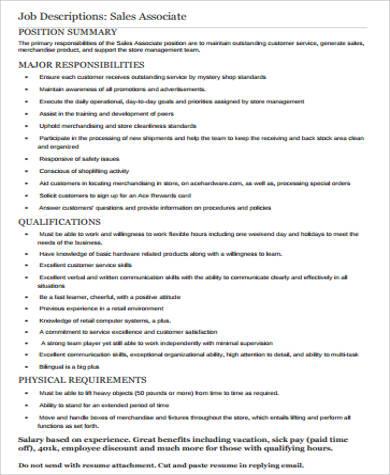 Retail Sales Associate Job Description