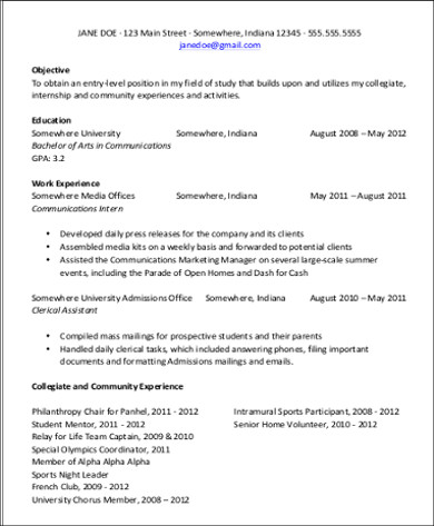 8 Sample Resume For First Job Sample Templates