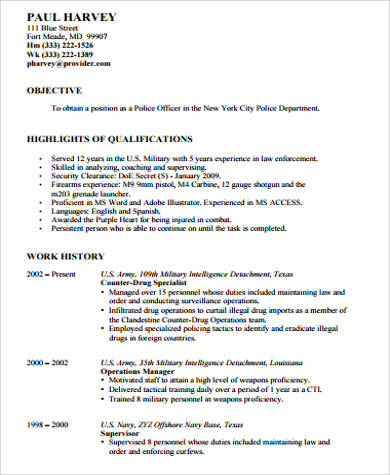 Military Police Officer Sample Resume Professional Military