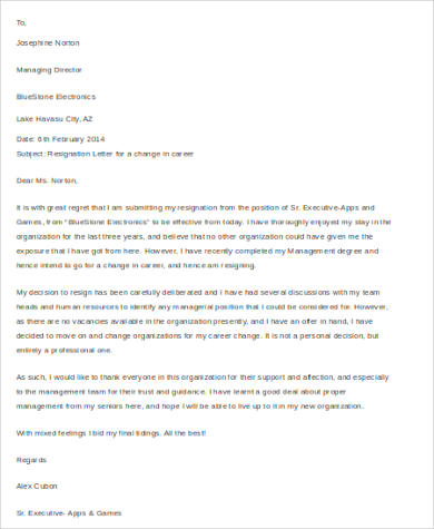 Career Change Cover Letter Resignation Letters Guardian