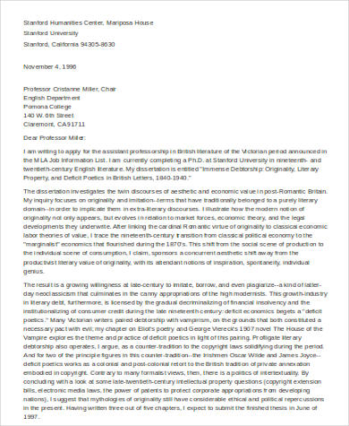 7 Sample Academic Cover Letters Sample Templates