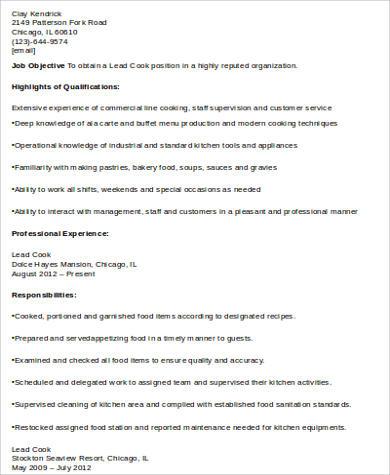 Sample Cook Resume  8 Examples in Word PDF