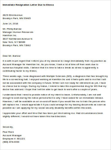 Immediate Resignation Letter Due To Illness 7 Sample Letters Pdf Word