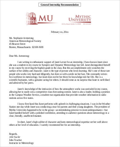 8+ Recommendation Letters for College Samples, Examples, Templates ...
