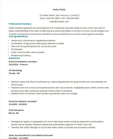 8 Sample Event Coordinator Resumes in Word PDF