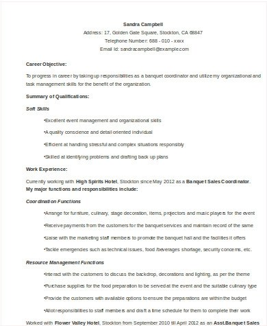 8 Sample Event Coordinator Resumes In Word PDF Sample