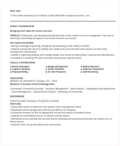 8 Sample Event Coordinator Resumes In Word PDF Sample