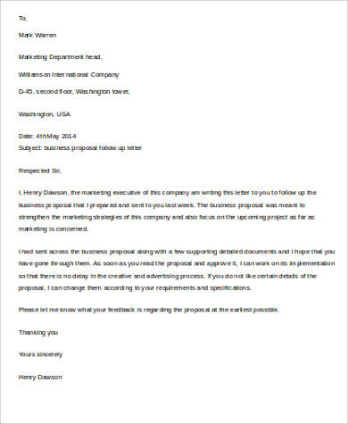 Business Proposal Letter Sample  9 Examples in Word PDF