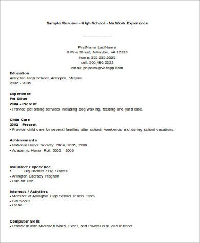 No Experience Resume Samples In Ms Word