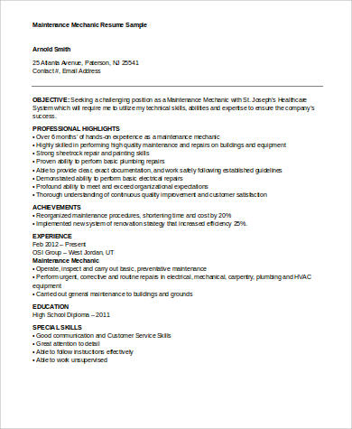 9 Sample Mechanic Resumes Sample Templates