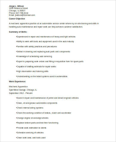 9 Sample Mechanic Resumes Sample Templates