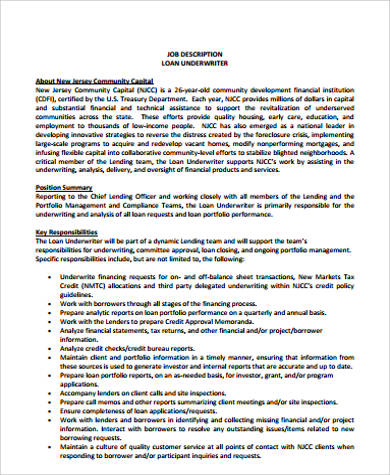 Underwriter Job Description Sample 9 Examples In Word PDF
