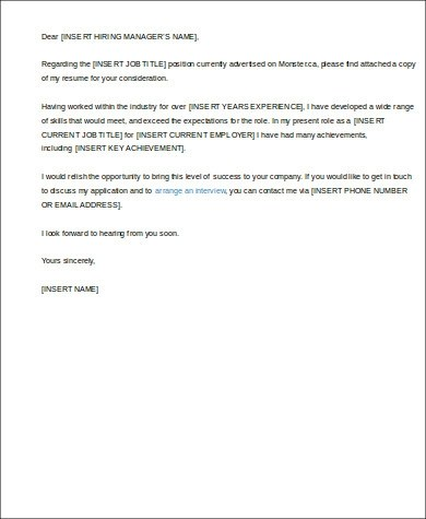 Cover Letter Structure Sample  7 Examples in Word PDF