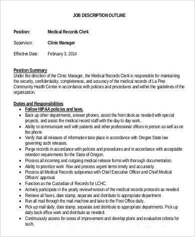 Medical Records Clerk Job Description Sample  9 Examples