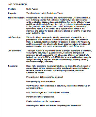 Night Auditor Job Description Sample 9 Examples In Word