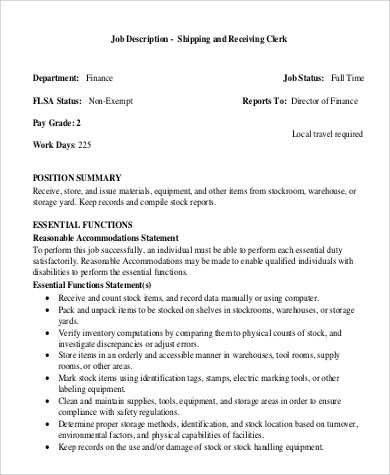 Shipping and Receiving Job Description Sample  9 Examples in Word PDF