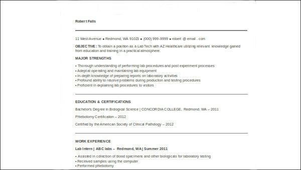 examples of medical technologist resume