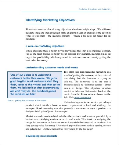 Free 8 Marketing Objective Example Samples In Ms Word Pdf