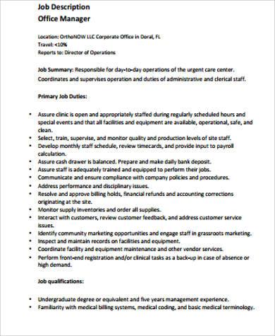 6+ Medical Office Manager Job Description Samples | Sample Templates
