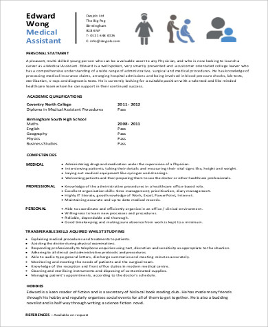6 Sample Entry Level Medical Resumes Sample Templates