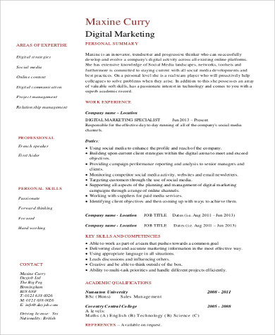 8 Sample Marketing Skills Resumes Sample Templates
