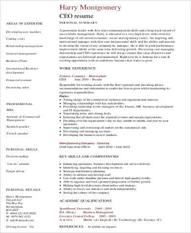 6 CEO Resume Samples Sample Templates