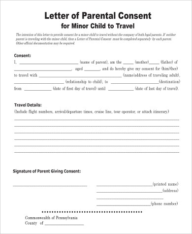 Awesome Sample Permission Letter For Traveling Child Gallery  Best