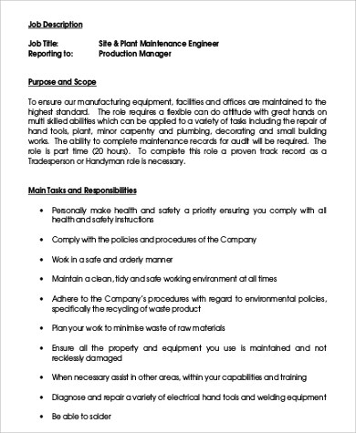9 Maintenance Engineer Job Description Samples Sample