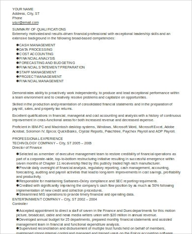 8 Sample Executive Summary Resumes Sample Templates