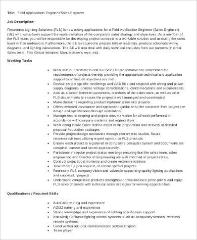 7+ Application Engineer Job Description Samples | Sample Templates