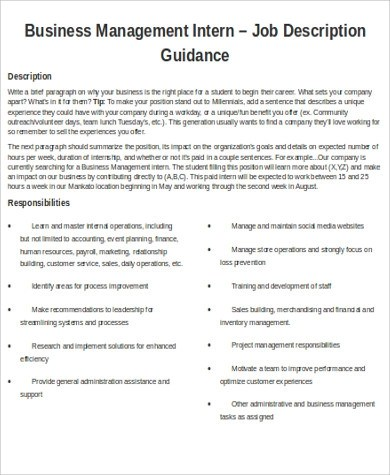 Office Intern Job Description Sample  9 Examples in Word