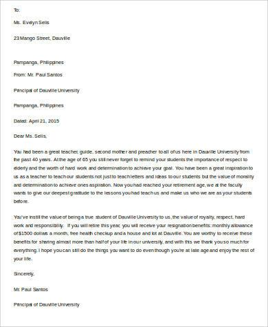 Teacher Retirement Letter