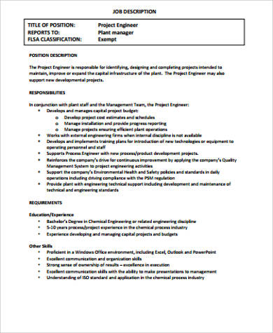 Chemical Engineer Job Description Sample  9 Examples in Word PDF