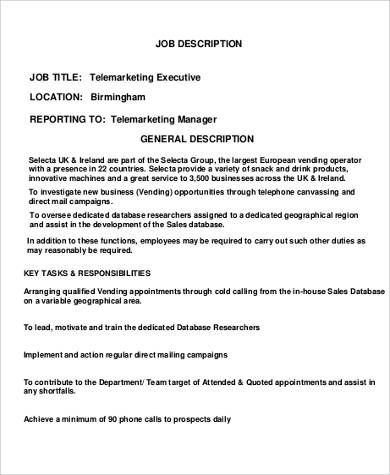Telemarketing Resume Job Description  Resume Sample