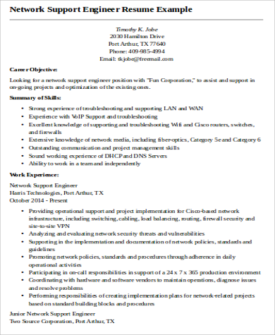 9 Sample Network Engineer Resumes Sample Templates