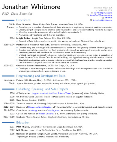 7+ Sample Data Scientist Resumes  Pdf, Word Sample