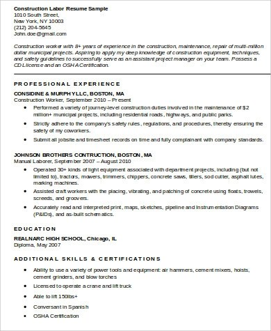 9 Sample Construction Worker Resumes Sample Templates