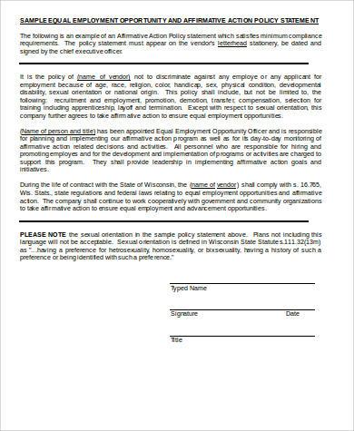 Sample Affirmative Action Plan | brandforesight co