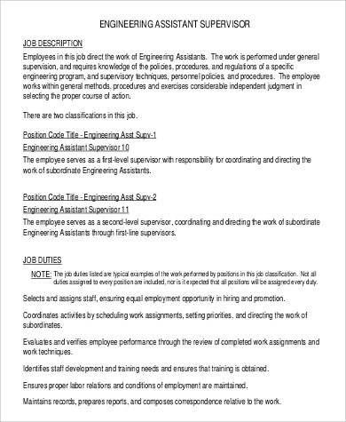 8 Assistant Engineer Job Description Samples Sample