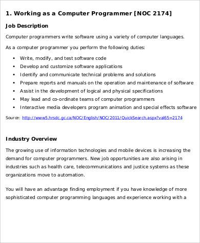 11 Sample Computer Programmer Job Description PDF Word