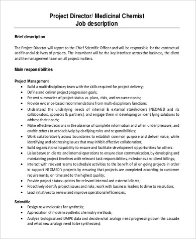 Job Description Chemist