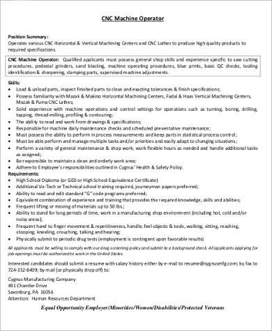 Sample Machine Operator Resume  6 Examples in Word PDF