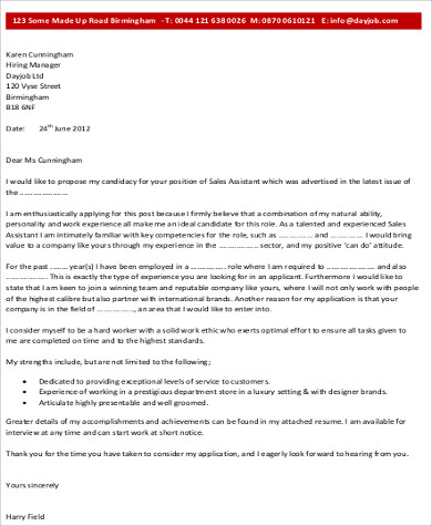 Sample Sales Associate Cover Letter  8 Examples in Word PDF