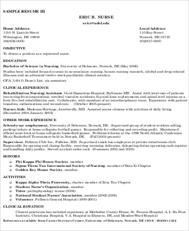 nursing resume objective sample 8 examples in word pdf - Nursing Resume Objectives Examples